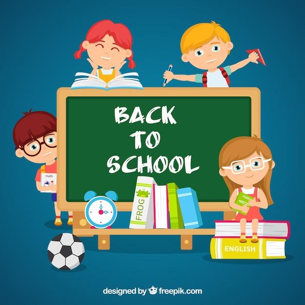 Students, blackboard and school materials Free Vector