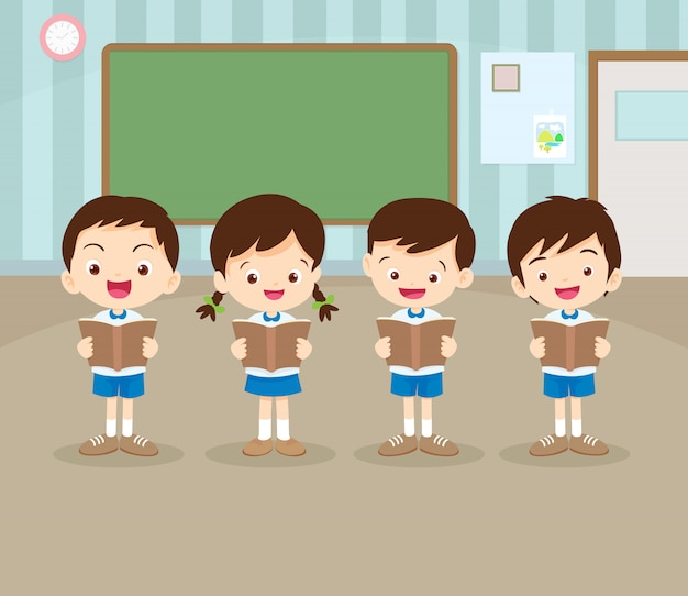 Students boy and girl  are reading a book in classroom Premium Vector