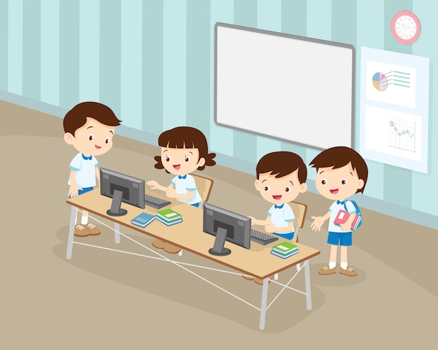 Students boy and girl are working with computer in classroom Premium Vector