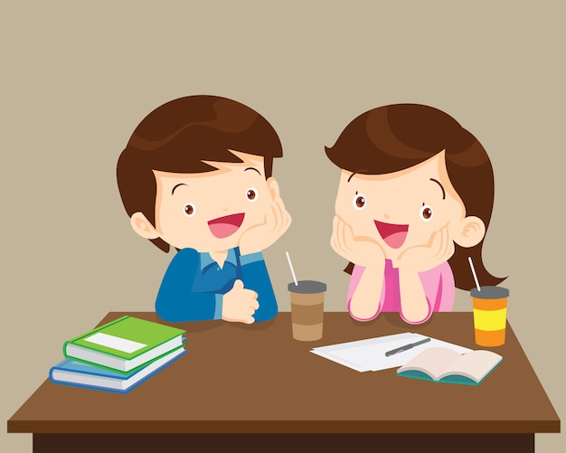 Students boy and girl sitting friendly Premium Vector