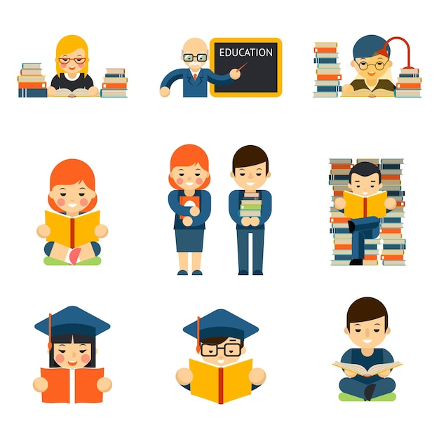 Students and childrens set reading and learn study in class room Free Vector