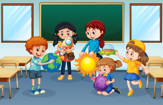Students in the classroom background Free Vector