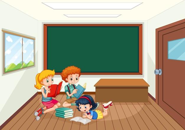 Studenti nell'illustrazione dell'aula Vettore gratuito