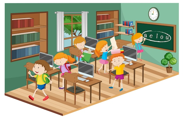 Students in the classroom with many computers Free Vector
