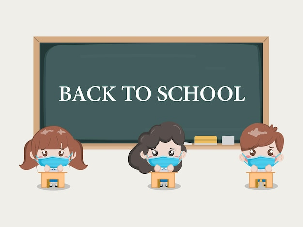 Students distancing in the classroom. school stay safe from covid-19. Free Vector