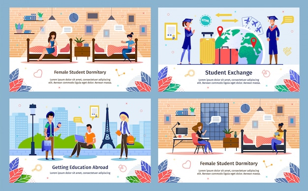 Students exchange program flat vector banners set Premium Vector