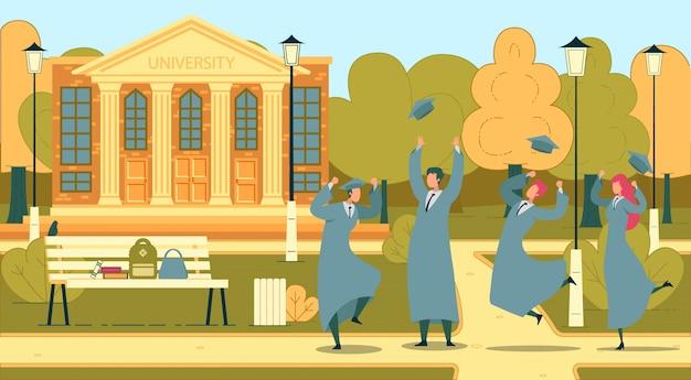 若者との学生卒業式。 Premiumベクター