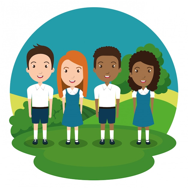 Students group in the park Free Vector