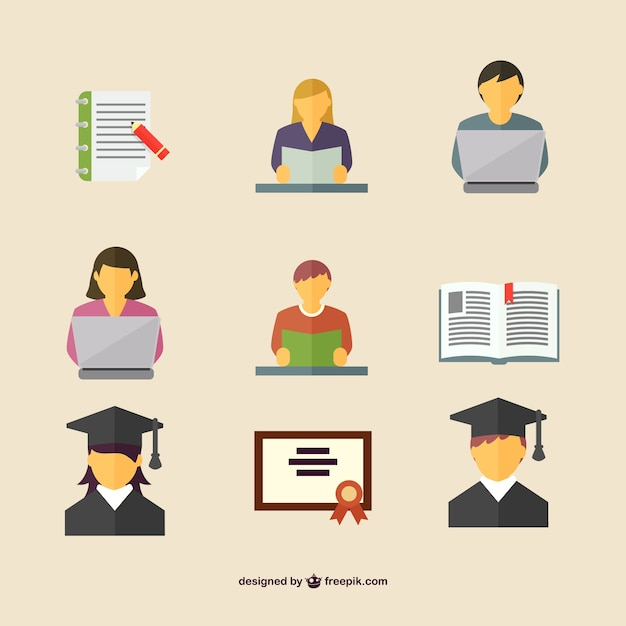 Students icons Free Vector