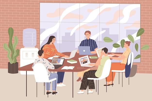 選択科目の英語クラスの生徒はテーブルに座って教材を勉強します。 Premiumベクター