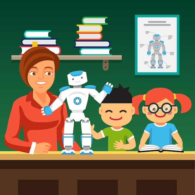 Innovative Classroom Techniques ~ Students learning robotics with teacher and robot vector