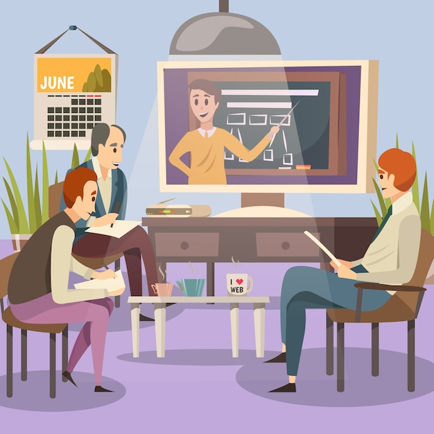 Students on online education Free Vector