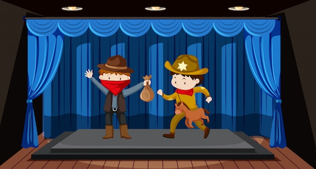 Students perform drama on stage Free Vector