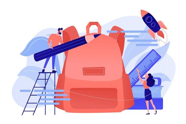 Студенты кладут в рюкзак карандаш и линейку. снова в школу, бесплатные рюкзаки и школьные принадлежности, подготовка к концепции нового учебного года Бесплатные векторы