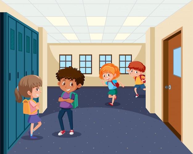 Students in school hallway Premium Vector