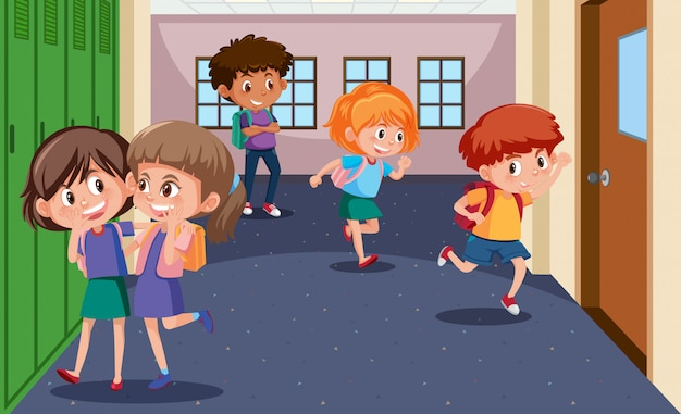 Students at the school hallway Premium Vector