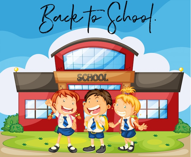 Students at school with phrase back to school Premium Vector