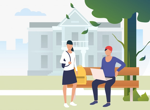 Students studying and chatting in campus park Free Vector