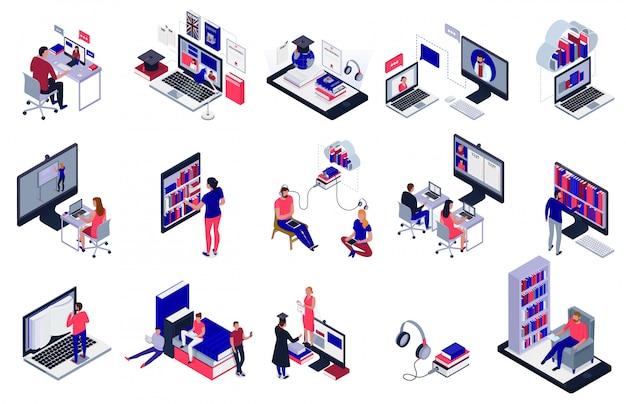 Gli studenti che studiano online facendo uso delle icone elettroniche delle biblioteche hanno messo isolato su 3d bianco Vettore gratuito