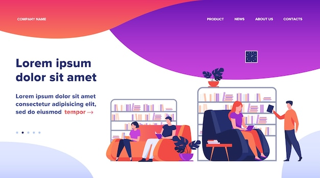Students studying and reading in library. people sitting on sofa at bookcases and bookshelves flat vector illustration. education concept website design or landing web page Free Vector