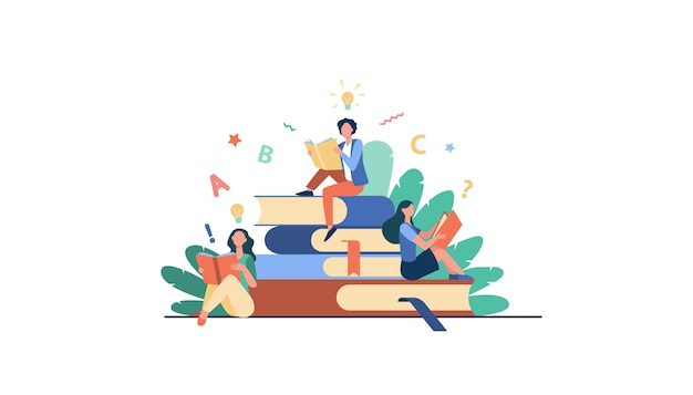 Students studying textbooks Free Vector