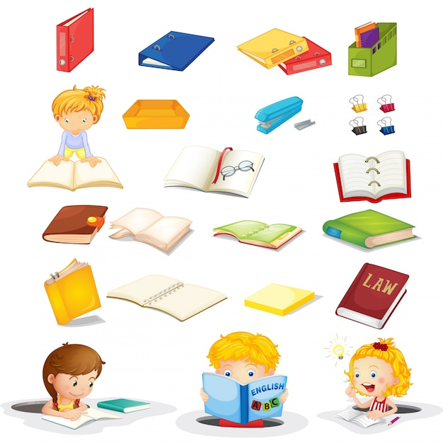 Students and their school supplies Free Vector