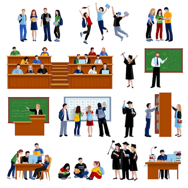 Students at the university in library in auditorium Free Vector
