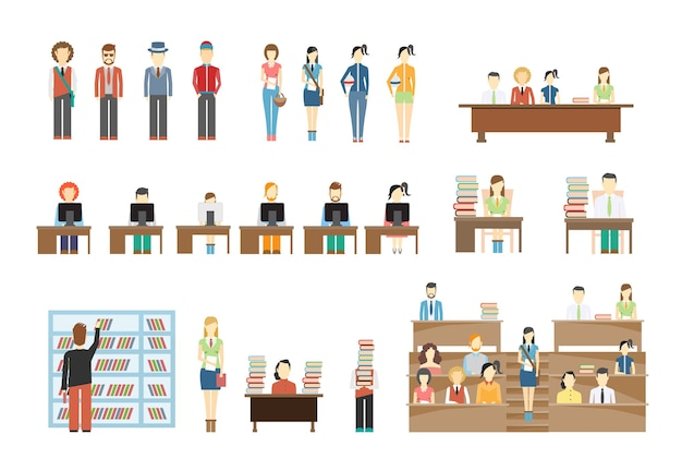 Students at university scene set Free Vector