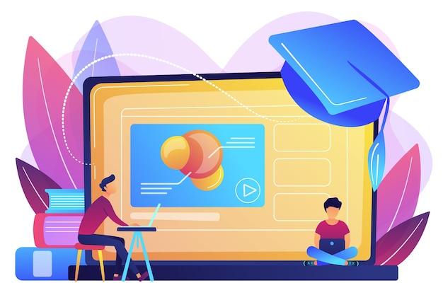 Studenti che utilizzano il video della piattaforma di e-learning su laptop e cappello di laurea. piattaforma di formazione online, piattaforma di e-learning, concetto di insegnamento online. Vettore gratuito