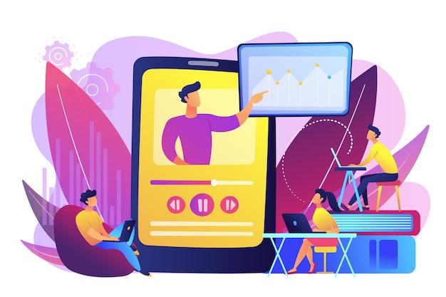 교사와 태블릿에서 온라인 교육 비디오를 시청하는 학생. 온라인 교육, 지식 공유, 영어 교사 온라인 개념. 무료 벡터