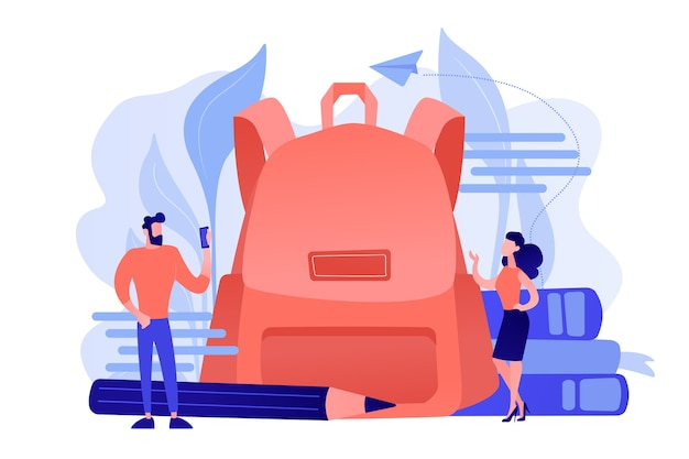 Students wearing new clothes and big backpack, books, pencil. back to school outfits and trends, new school year fashion and first day of school clothes Free Vector