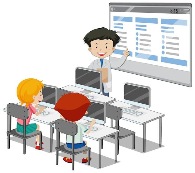 Studenti con elementi di aula di computer su sfondo bianco Vettore gratuito