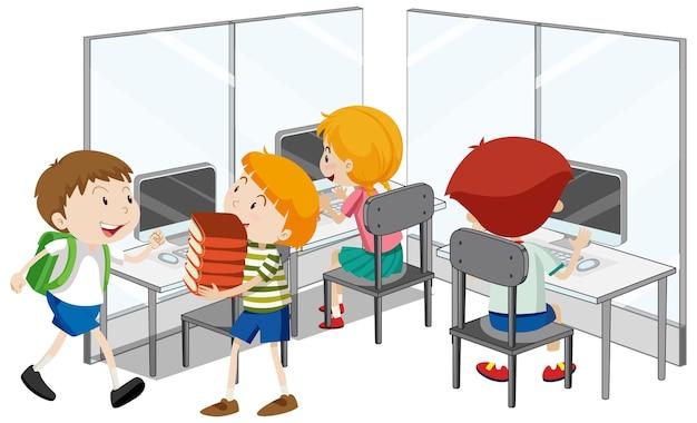 Studenti con elementi di classe di computer Vettore gratuito