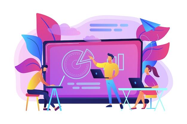 Studenti con laptop seduti intorno al lettore dietro l'illustrazione della lavagna interattiva Vettore gratuito