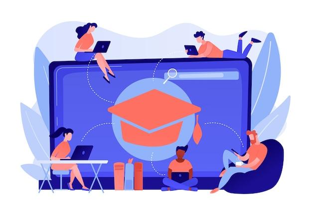 Студенты с ноутбуками учатся и огромный ноутбук с выпускной крышкой Бесплатные векторы