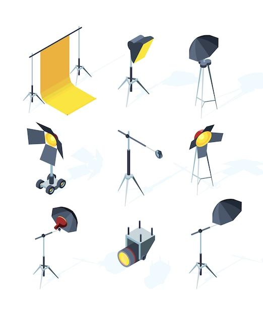 Studio equipment . photo or tv production tools spotlights softbox directional light umbrella tripod pictures Premium Vector