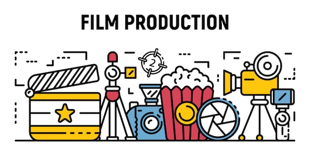 Studio film production banner, outline style Premium Vector