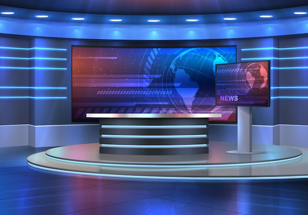 Studio interior for news broadcasting,  empty placement with anchorman table on pedestal, digital screens for video presentation and neon glowing illumination. realistic  breaking news studio Premium Vector
