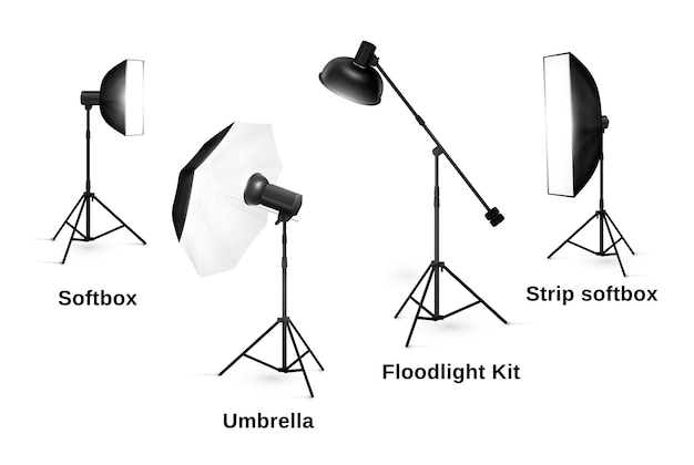 Studio lighting equipment isolated. spotlight and lamp, flash and professional technology photographic Free Vector