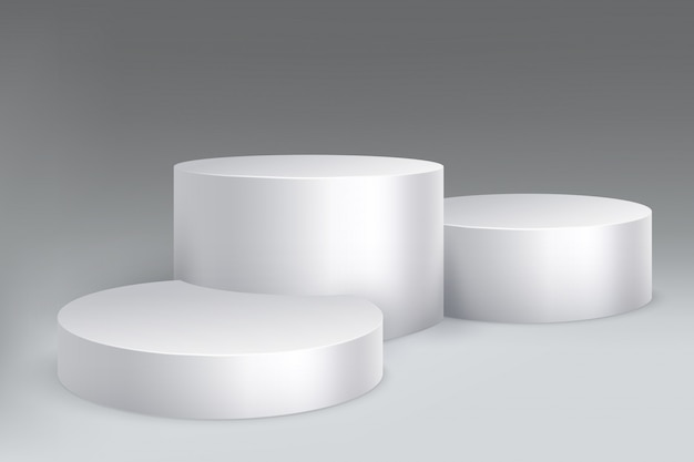 Studio podium. marble stand pillar base, pedestal with cylinders. Premium Vector