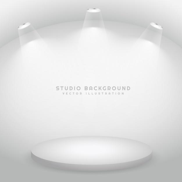 White Studio Background With Podium: Studio With A Podium Vector