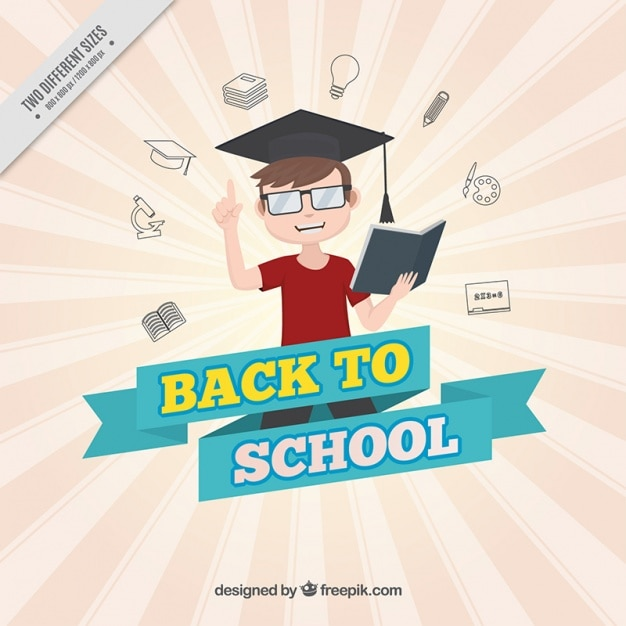 Studious boy background Free Vector