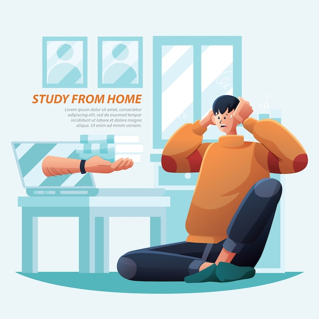 Study from home teacher give task Premium Vector
