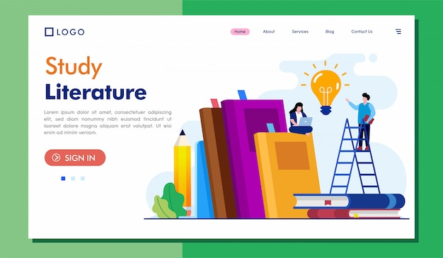 Study literature landing page website illustration Premium Vector