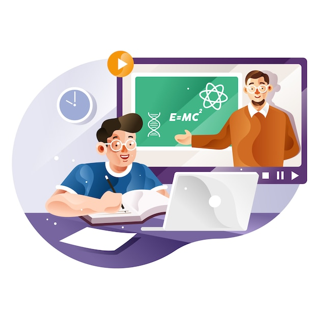 Study online with teachers from home Premium Vector
