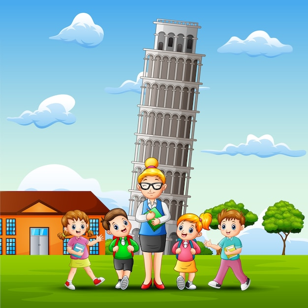 Study outdoors in front of pisa tower background Premium Vector