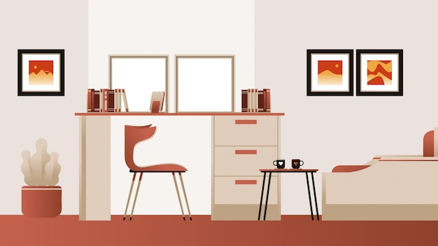 Study room background vector Premium Vector