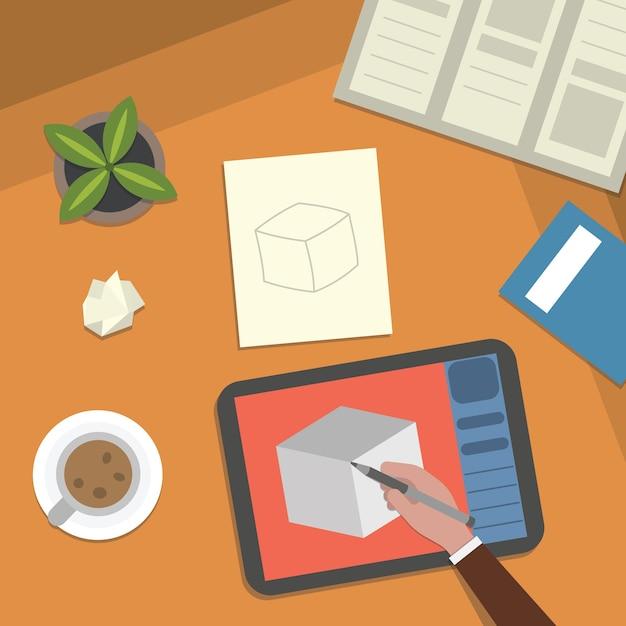 연구 테이블과 예술 작품 바탕 화면 그림. 학교 수업 공부 및 디지털 그림 요소 상위 뷰. 프리미엄 벡터