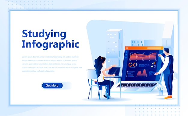 Studying infographic flat landing page template of homepage Premium Vector