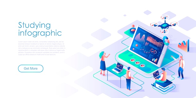 Studying infographic isometric landing page template Premium Vector